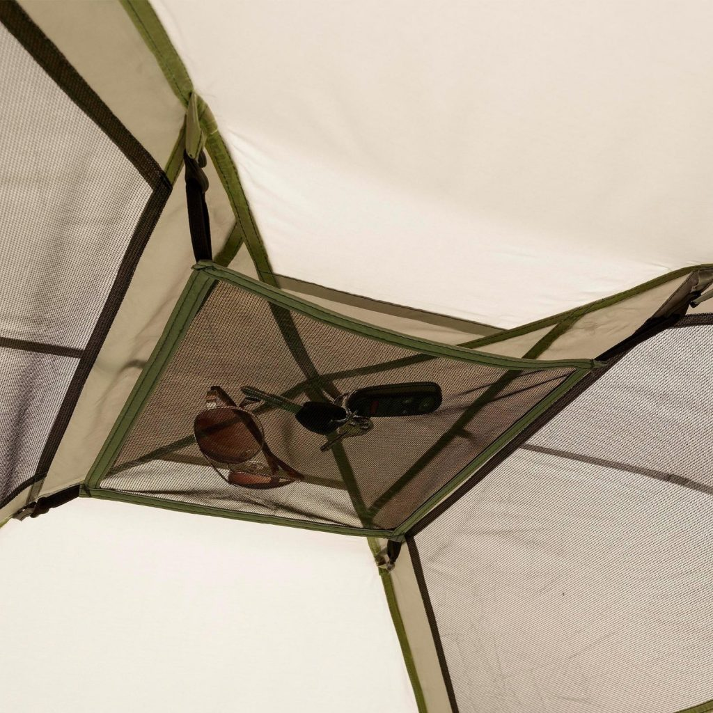 Mesh storage area in tent celing