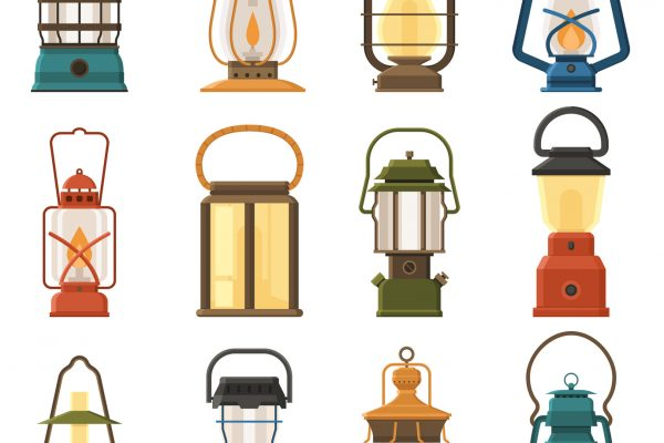 Vintage camping lantern set isolated on white background. Different oil lamp collection. Modern and retro lanterns vector illustration. Various handle gas lamps for tourist hiking.