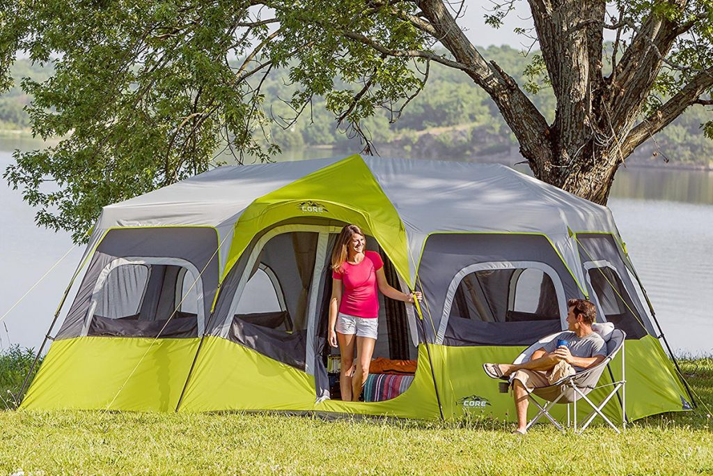 Family enjoying their Core 12 person camping tent