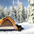 Set up a tent in the snow