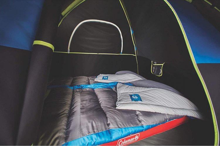 Inside the Coleman Sundome dark room tent