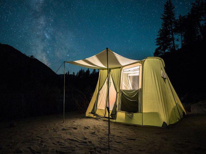 Springbar Highline 6 Canvas Tent at night