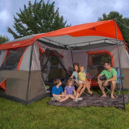 Ozark Trail 10-Person 3-Room Cabin Tent Large 3 Room Easy Setup Outdoor