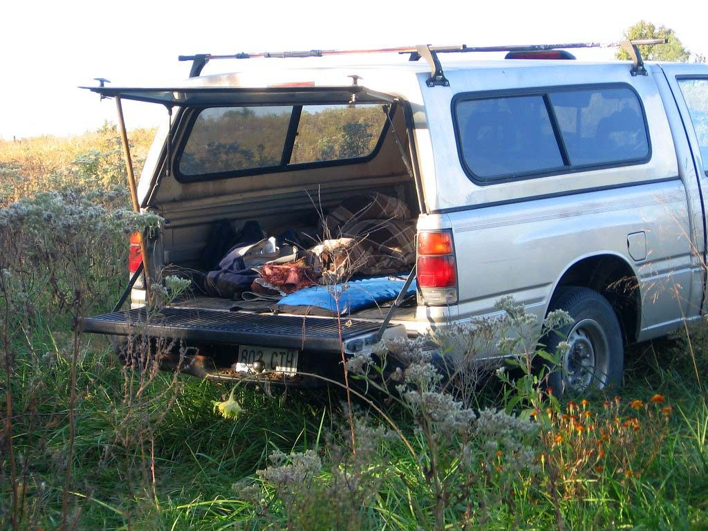 A basic camping setup in truck with a shell