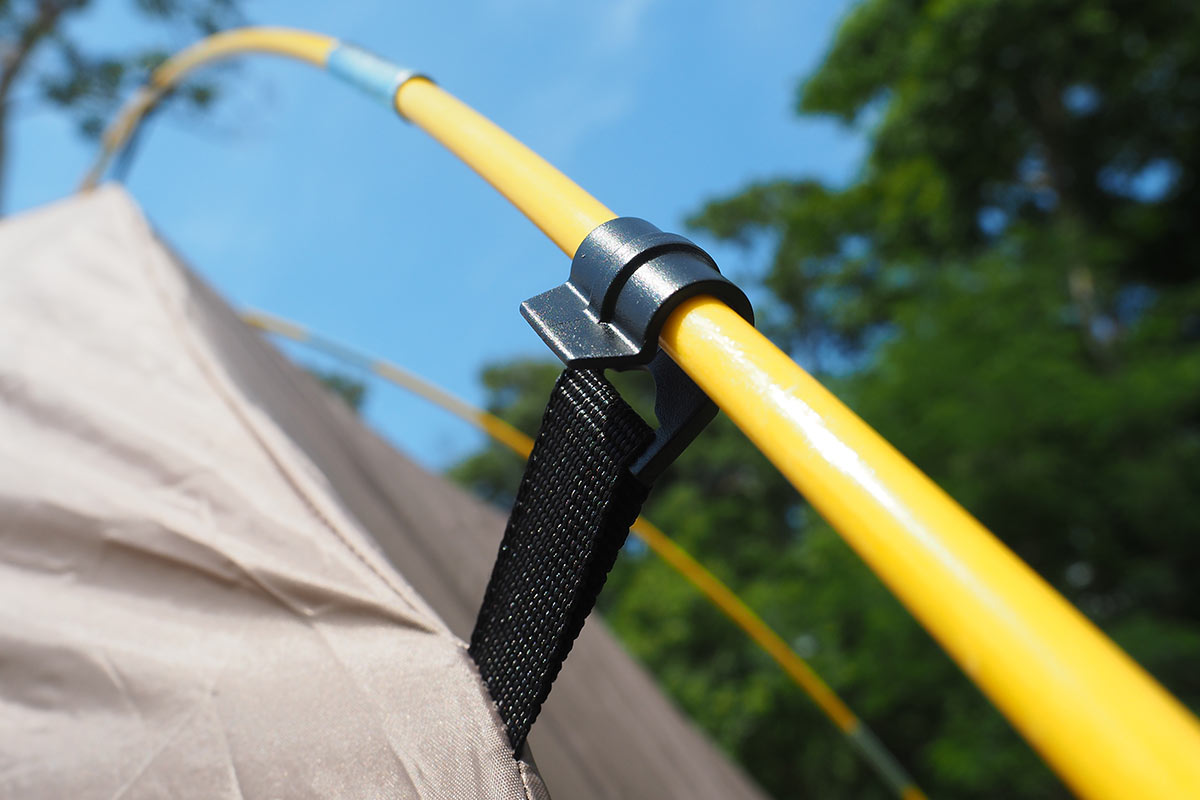 Flexible tent pole material in yellow